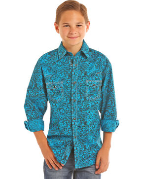 Rock & Roll Cowboy Boys' Paisley Print Long Sleeve Snap Shirt, Turquoise, hi-res