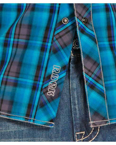 Rock & Roll Cowboy Men's Poplin Plaid Long Sleeve Shirt, Black, hi-res