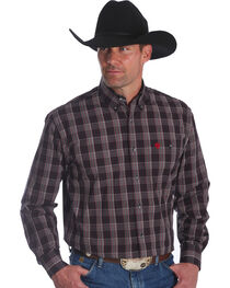 Wrangler Men's George Strait Red Plaid Long Sleeve Shirt , , hi-res