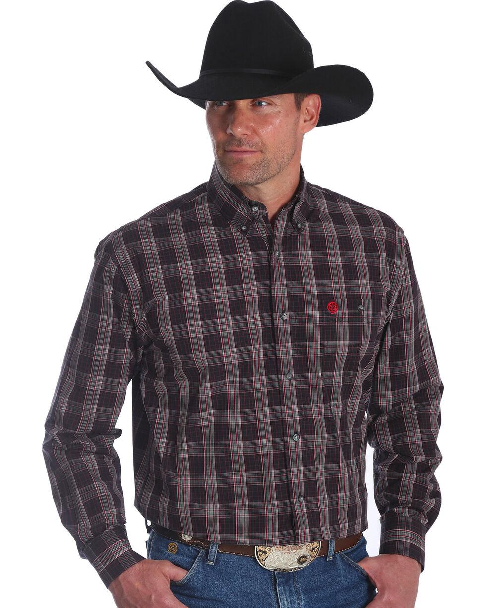 Wrangler Men's George Strait Red Plaid Long Sleeve Shirt , Red, hi-res