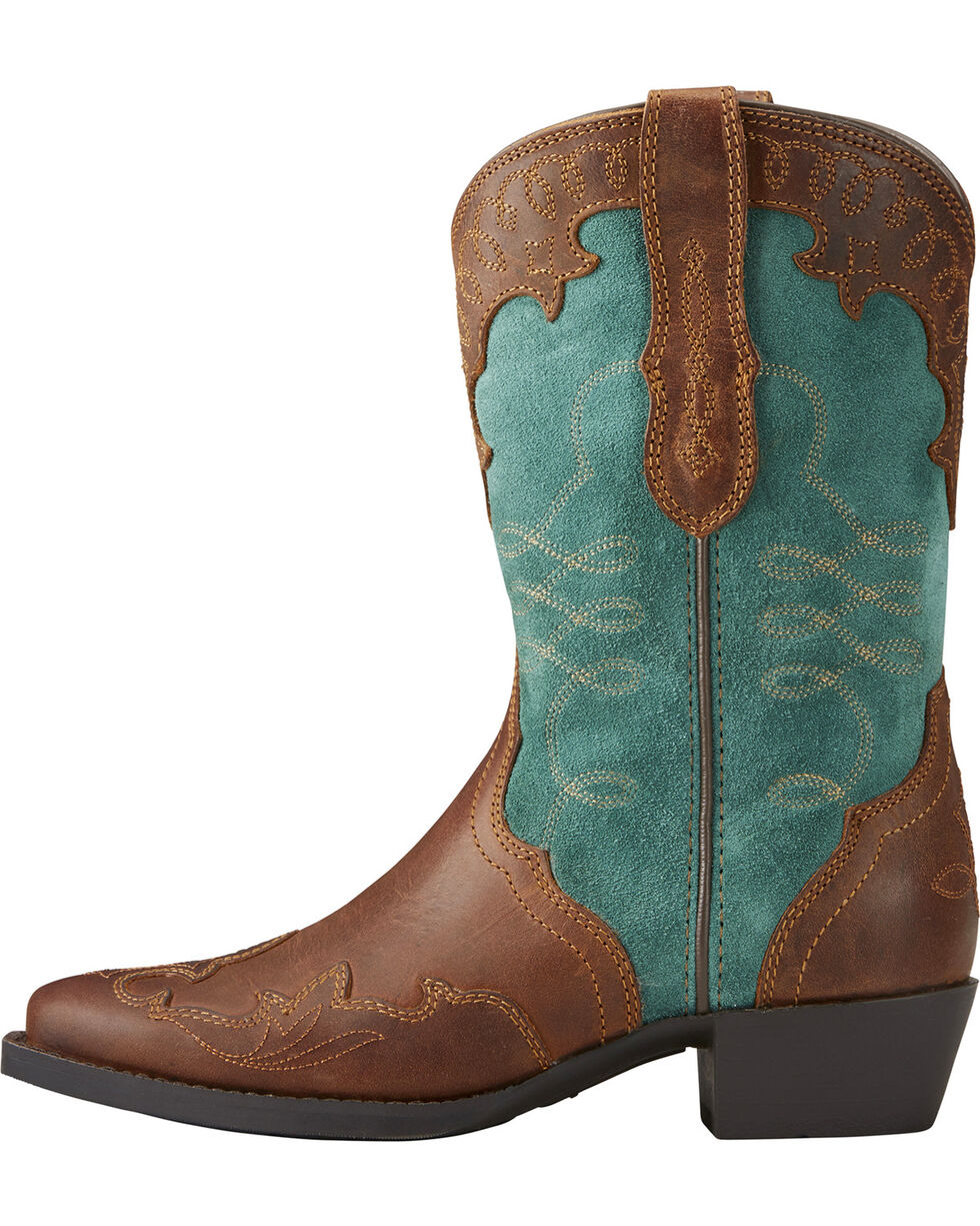 Ariat Girls' Zealous Wingtip Overlay Cowgirl Boots - Snip Toe, Brown, hi-res