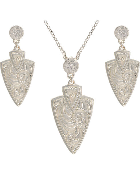 Montana Silversmiths Keen Pursuit Arrowhead Jewelry Set, Silver, hi-res