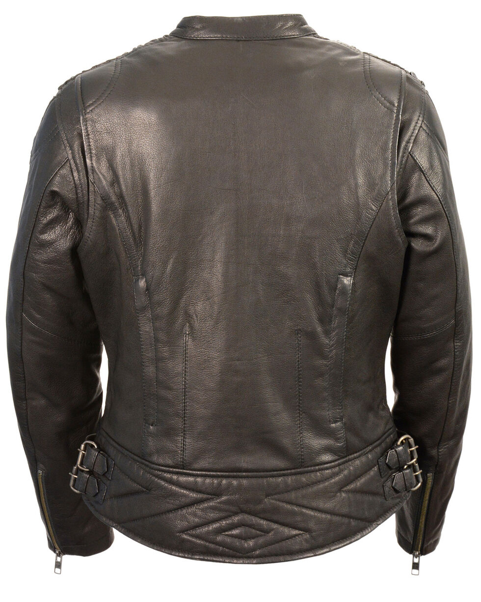 Milwaukee Leather Women's Crinkle Arm Lightweight Racer Jacket - 3X, , hi-res