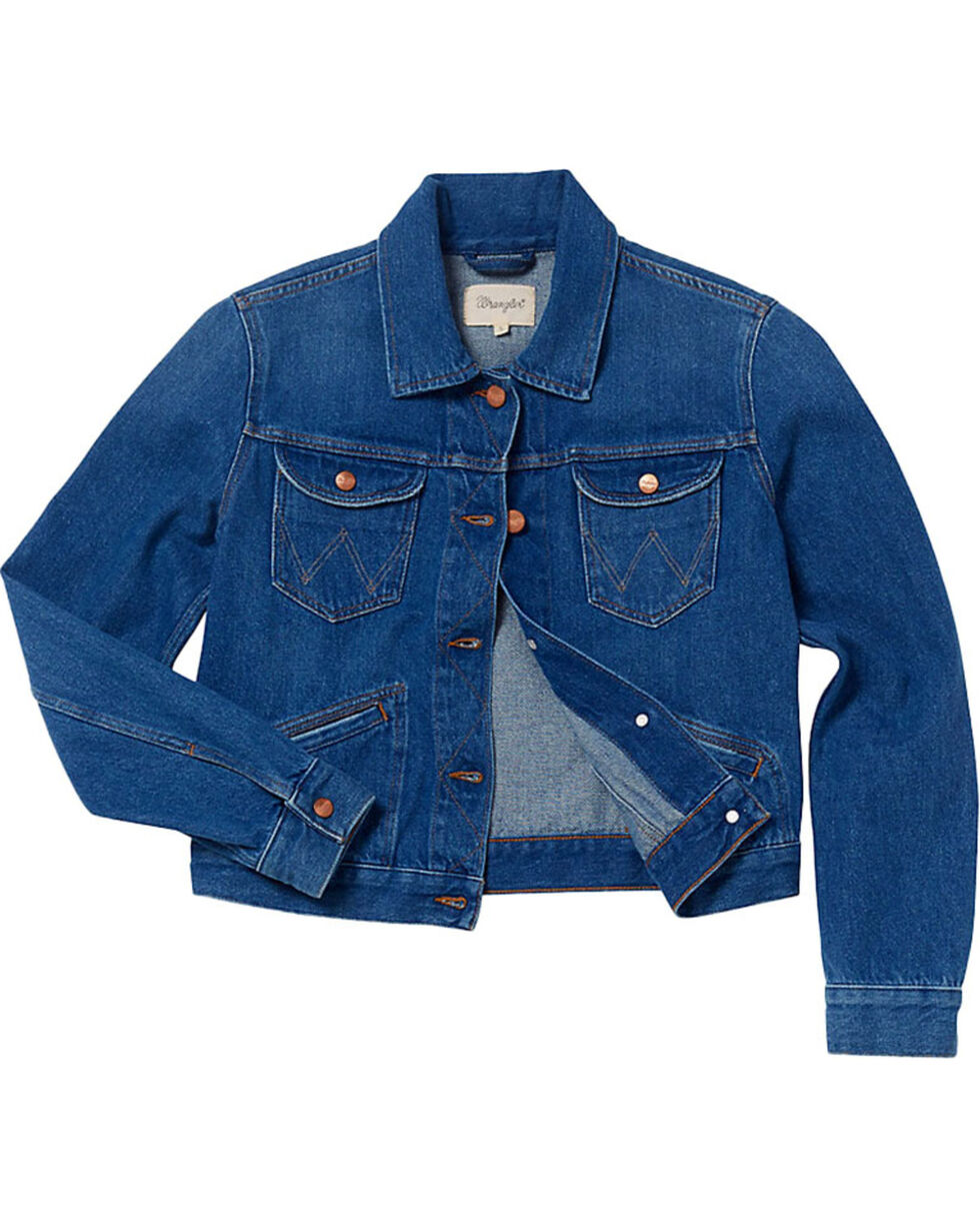 Wrangler Women's 70th Anniversary Cropped Denim Jacket, Indigo, hi-res