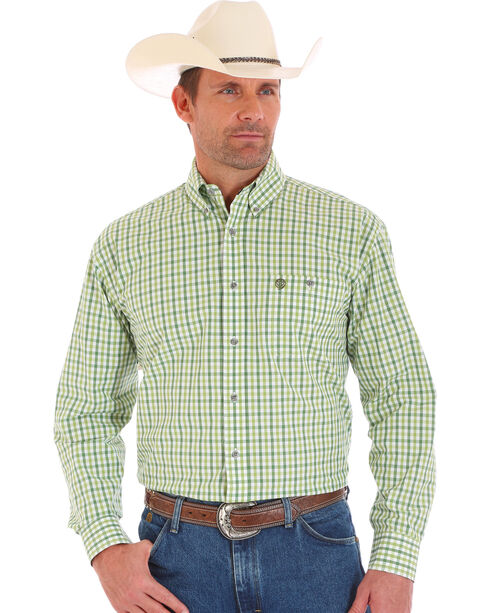 Wrangler George Strait Men's Long Sleeve Green Checkered Button Shirt  , Green, hi-res