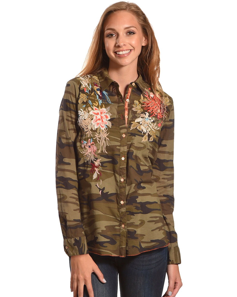Johnny Was Women's Molly Camo Voile Stella Basic Shirt , Camouflage, hi-res