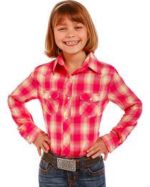 Panhandle Girls' Pink Plaid Snap-Down Shirt , , hi-res
