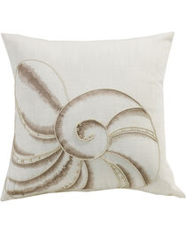 HiEnd Accents Newport Seashell Embroidery Pillow, , hi-res
