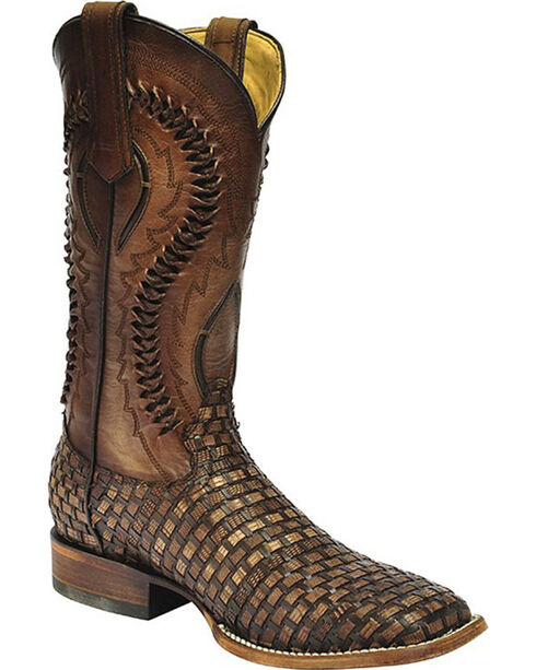 Corral Men's Braided Lizard Square Toe Western Boots, Brown, hi-res