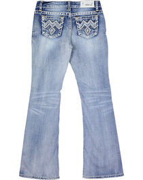 Grace In LA Kids' Embroidered Boot Cut Jeans, Blue, hi-res