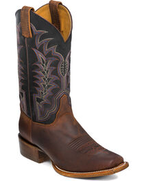 Justin Men's Black and Brown with Western Stitch Cowboy Boots - Square Toe, , hi-res