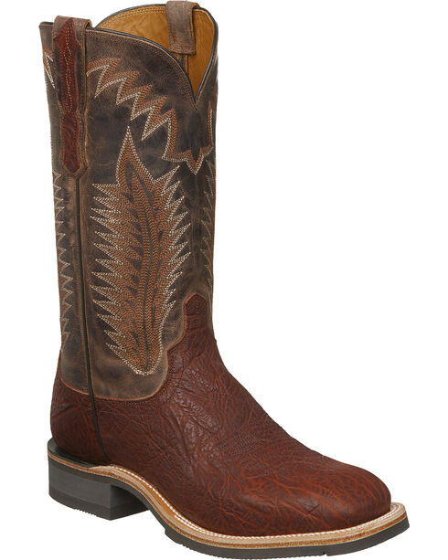 Lucchese Men's Handmade Wyatt Cognac/Chocolate Bull Shoulder Rubber Outsole Western Boots - Square Toe, Cognac, hi-res