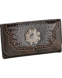 Blazin Roxx Croc Print Faux Leather Checkbook Wallet, , hi-res