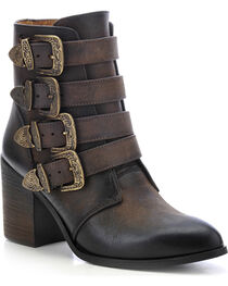 Circle G Women's Buckled Western Booties, Chocolate, hi-res