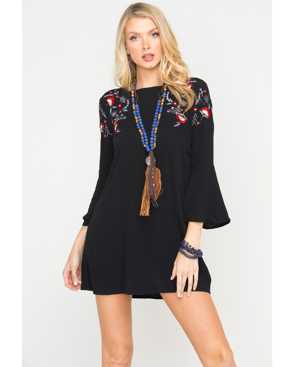 Jack Women's Pascal Bell Sleeve Embroidered Dress, Black, hi-res