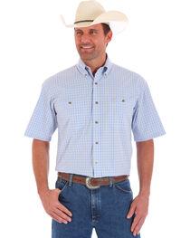 Wrangler Men's Blue Short Sleeve Plaid Shirt , , hi-res