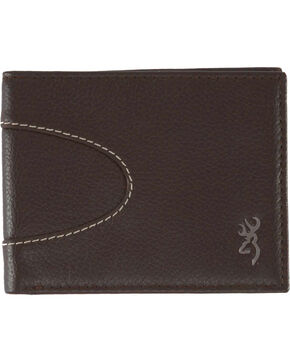 Browning Men's Wanderer Bi-Fold Leather Wallet, Dark Brown, hi-res