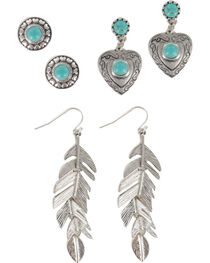 Shyanne® Women's Feather & Heart Earring Set, , hi-res