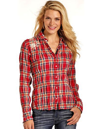 Rock & Roll Cowgirl Women's Red Floral Embroidered Shirt , , hi-res