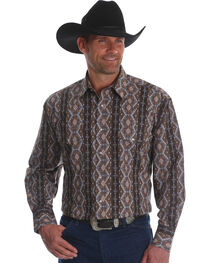 Wrangler Men's Checotah Stripe Long Sleeve Western Shirt - Big & Tall, , hi-res