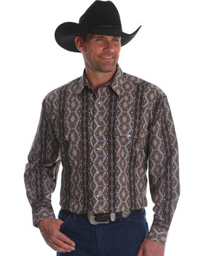 Wrangler Men's Checotah Stripe Long Sleeve Western Shirt - Big & Tall, Brown, hi-res