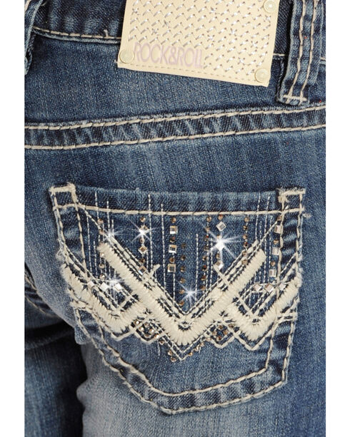 Rock & Roll Cowgirl Girls' Light Embellished Jeans - Boot Cut , Indigo, hi-res