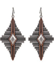 Wrangler Rock 47 Points of Aztec Two Tone Pyramid Earrings, , hi-res