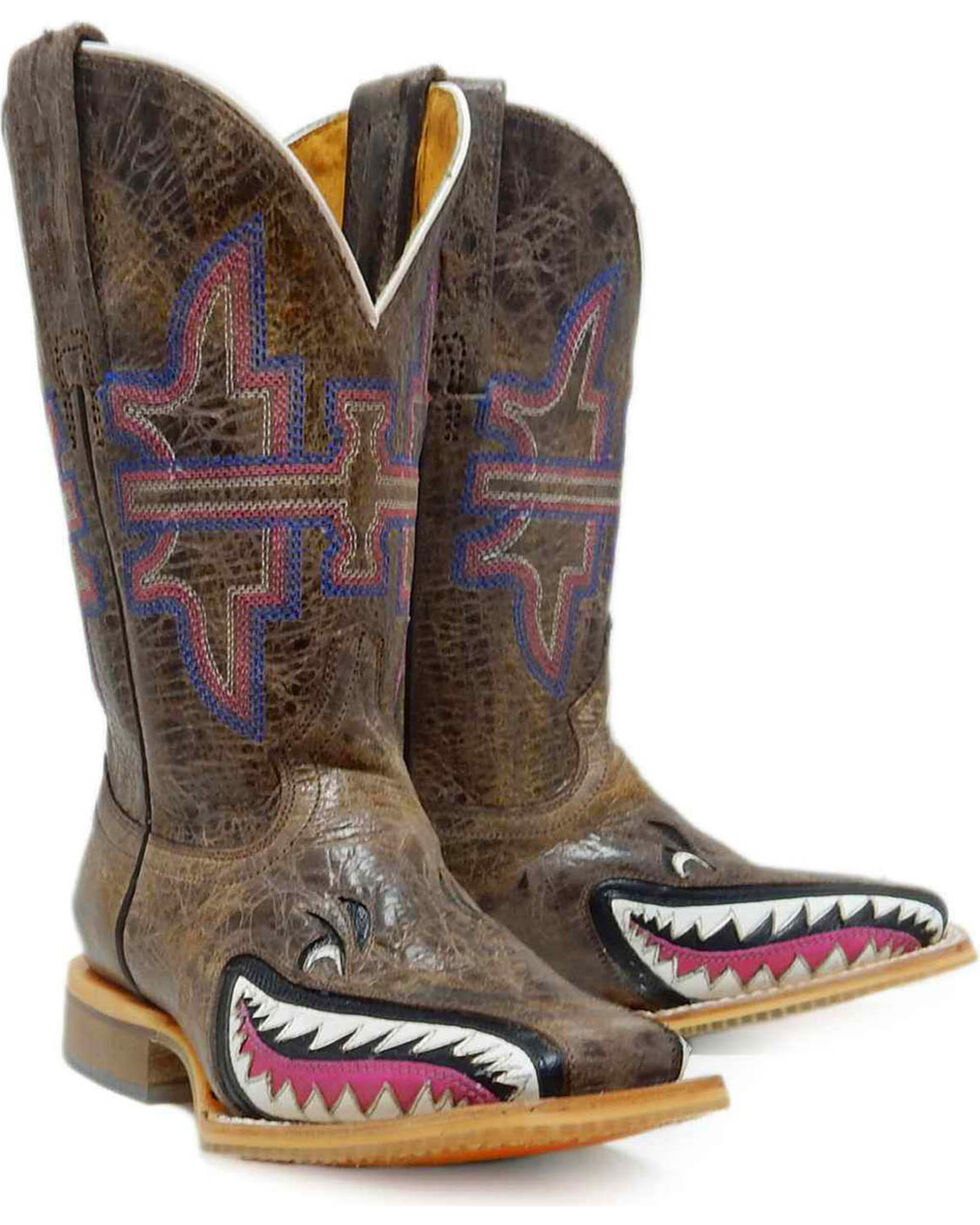 """Tin Haul Girls' Tan and Pink 8"""" Leather Western Boots - Square Toe , Pink, hi-res"""