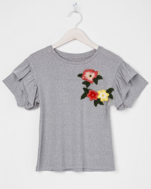 Miss Me Girls' Floral Embroidered Ruffle Short Sleeve Tee, Grey, hi-res