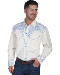Scully Men's Embroidered Long Sleeve Western Shirt, Blue, hi-res