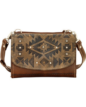 American West Leather Mystic Shadow Combination Crossbody, Dark Brown, hi-res