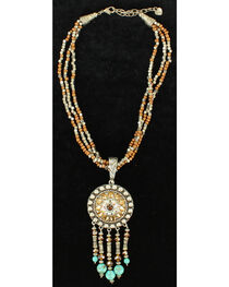Blazin Roxx Three-Strand Brown Beaded and Concho Necklace, , hi-res