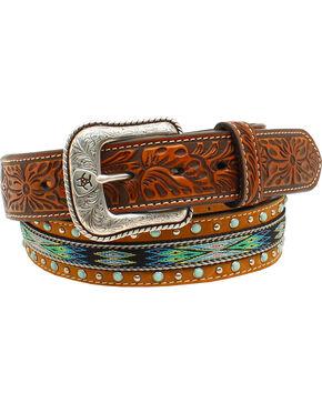 Ariat Men's Ribbon Strip Turquoise Stone Belt, Tan, hi-res