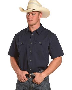 American Worker Men's Solid Short Sleeve Button Down Work Shirt, Navy, hi-res