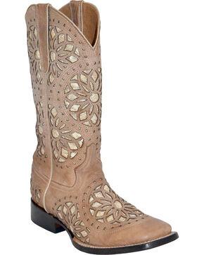 Ferrini Women's Mandala Western Boots - Square Toe , Taupe, hi-res