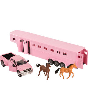 Girls' Pink Dodge Truck & Horse Trailer Toy Set, Pink, hi-res