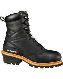 """Carhartt 8"""" Black Leather Waterproof Logger Boots, , hi-res"""