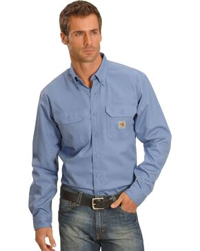 Carhartt Men's Flame-Resistant Twill Work Shirt, Blue, hi-res