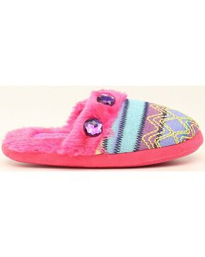 Blazin Roxx Girls' Colorful Woven Scuff Slippers, Pink, hi-res