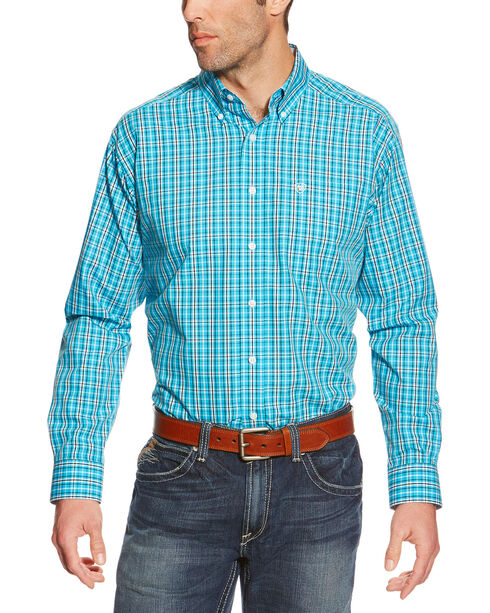Ariat Men's Plaid Printed Button Down Long Sleeve Shirt, Turquoise, hi-res