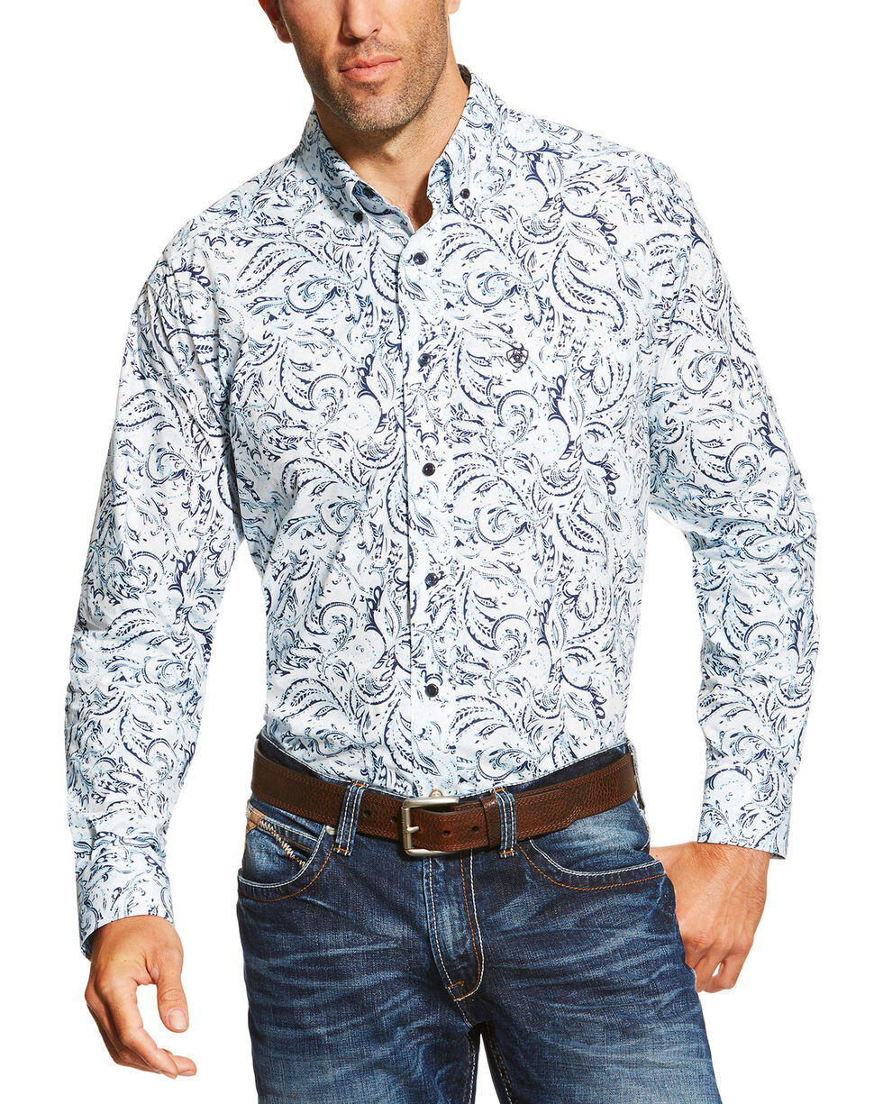 Ariat Men's Floral Pattern Long Sleeve Western Shirt, White, hi-res