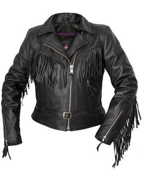 Interstate Leather Women's Madonna Fringe Riding Jacket, Black, hi-res