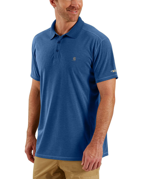 Carhartt Men's Blue Heather Force Extremes Polo, Blue, hi-res