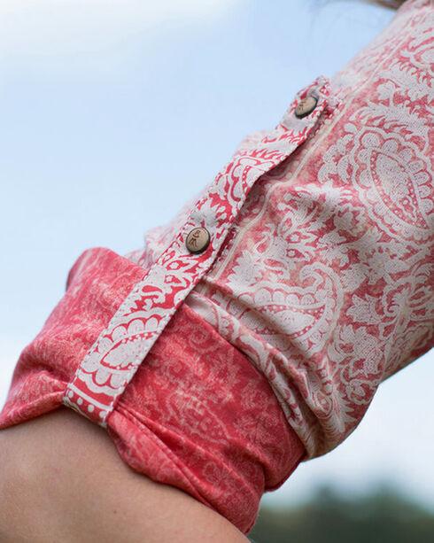 Ryan Michael Women's Red Bandana Print Shirt , Red, hi-res