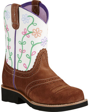 Ariat Fatbaby Girl's Brown Blossom Cowgirl Boots - Round Toe, Brown, hi-res