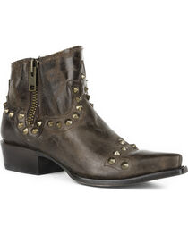 Stetson Women's Brown Shelby Studded Western Boots - Snip Toe, , hi-res