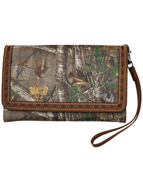 Angel Ranch Women's Camo Large Smartphone Wristlet , Brown, hi-res