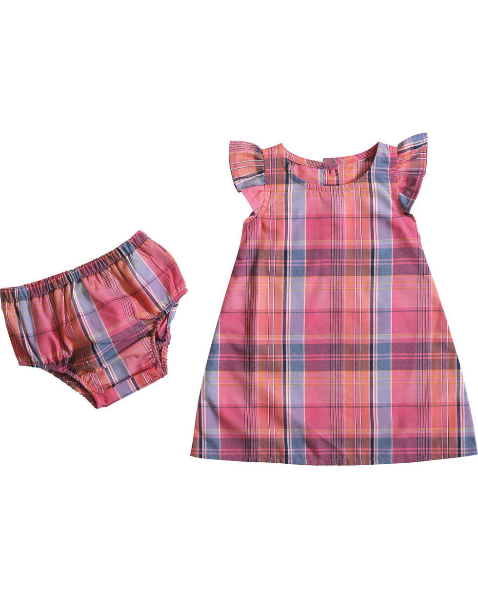 Wrangler Infant Girls' Plaid Ruffle Cap Sleeve Dress, Pink, hi-res