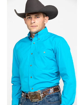 Wrangler George Strait Men's Solid Long Sleeve Button Down Shirt, Green, hi-res