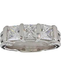 Montana Silversmiths Women's Silver Three Times a Stone Horseshoe Nail Ring - Size 6, , hi-res